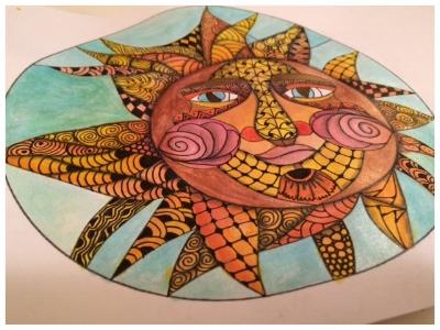 Zentangle, Zendoodle, Doodling, Tangling, Template, Sun