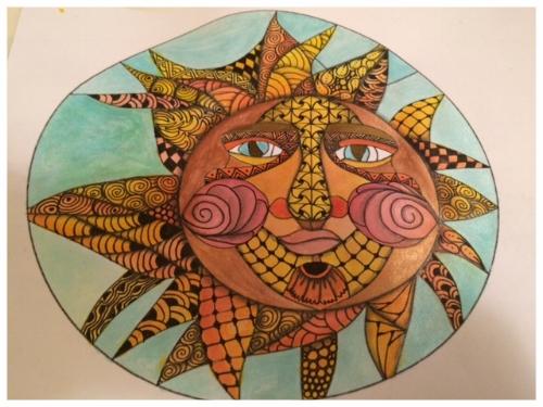 Zentangle, Zendoodle, Tangling, Doodling, Template, Sun