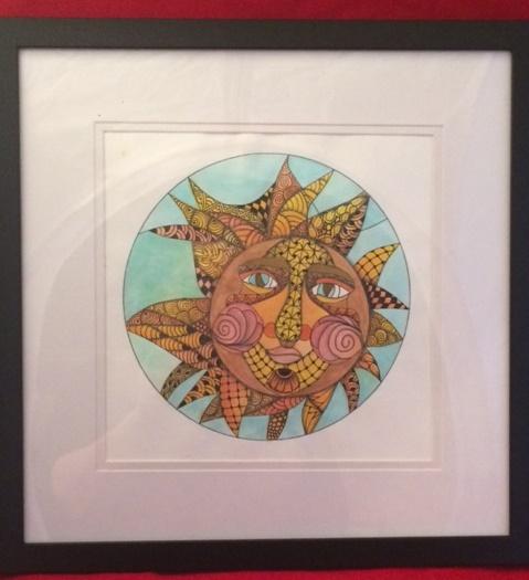 Zentangle, Zendoodle, Tangling, Template, Sun