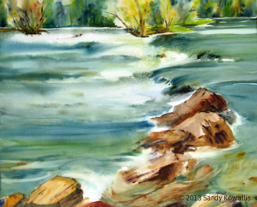 High Water on the San Joaquin - watercolor 28 x 30