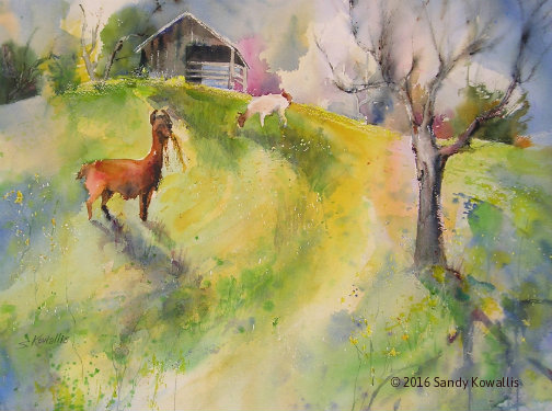 Bob and Lorenzo in Spring - watercolor 30 x 36