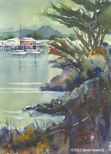 Monterey Wharf - watercolor 22 x 28