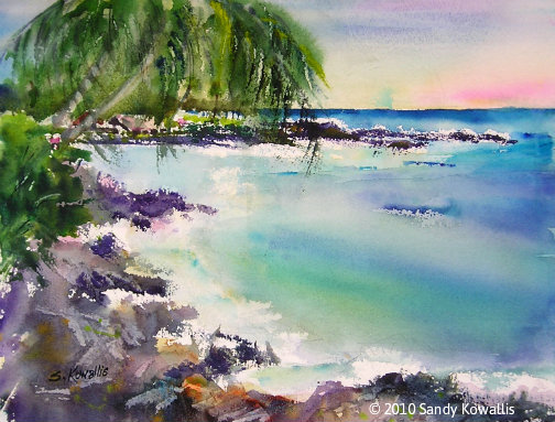 Kahalu'u Bay Hawaii - watercolor 11 x 14