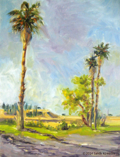Quick Sketch Palm Trees - oil 12 x 16