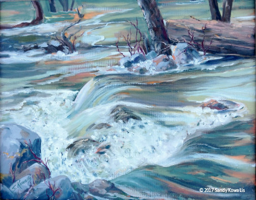 Roaring Runoff From Chilnualna Falls - oil - 16 x 20