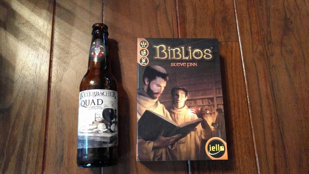 Biblios board game with Weyerbacher Quad