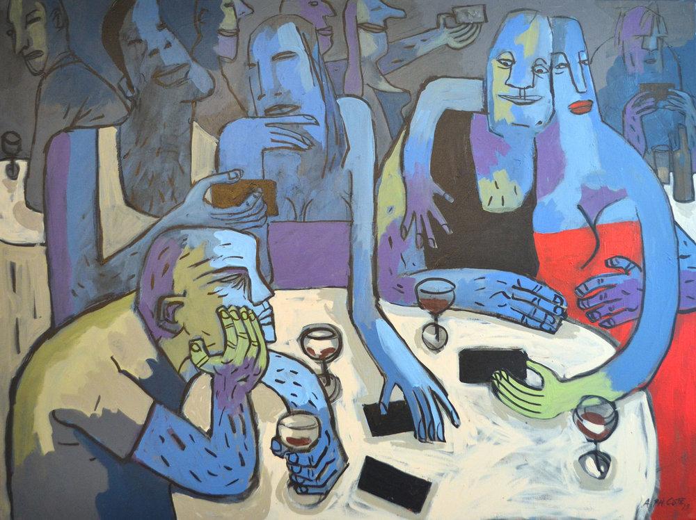 Le bar bleu, acrylique, 2017, 102 x 76 cm