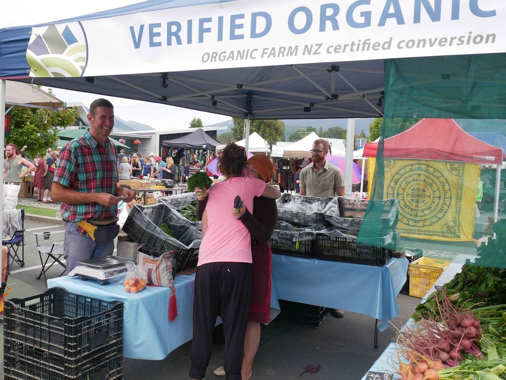 Our friends, Shane and Ben (pictured, left), founded Puramahoi Fields and sell at the Takaka Village Market every Friday and Saturday... one of the only organic stalls! (Jan 14)