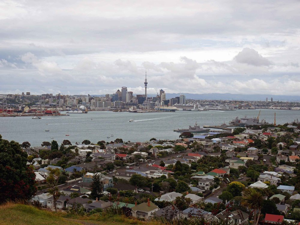 Taking in views of Auckland from the top of Mt. Victoria, an old volcano, located across Waitemata Harbour in Devonport (Jan 3).