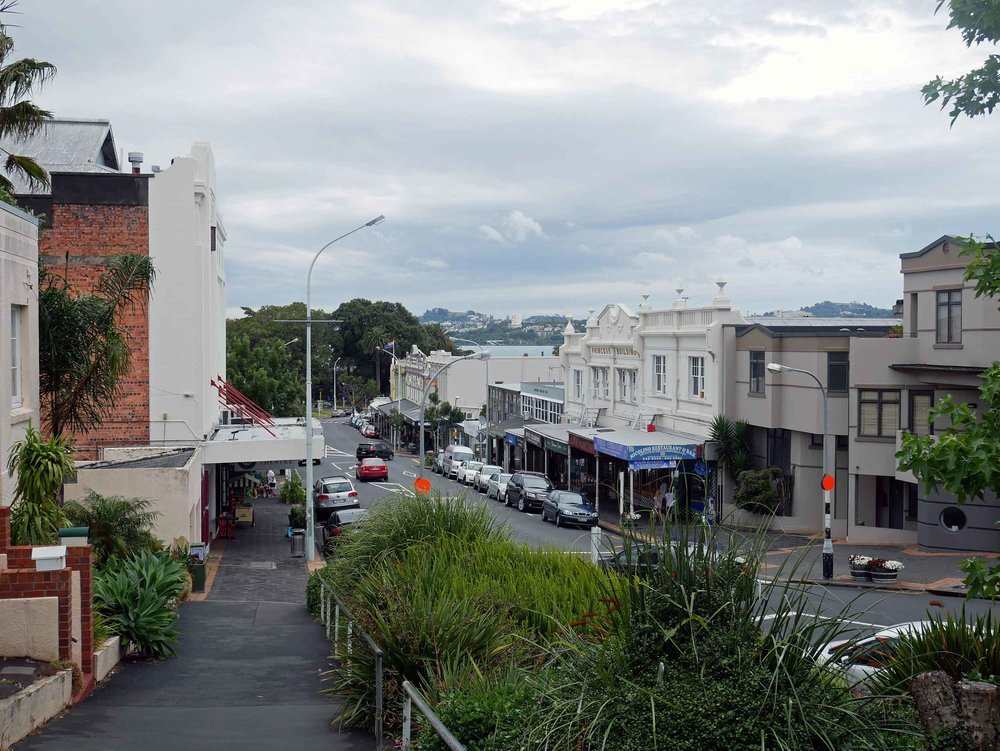 Charming Victoria Road in Devonport (home to musician Lorde), lined with cafes, bars and antiques shops (Jan 3).
