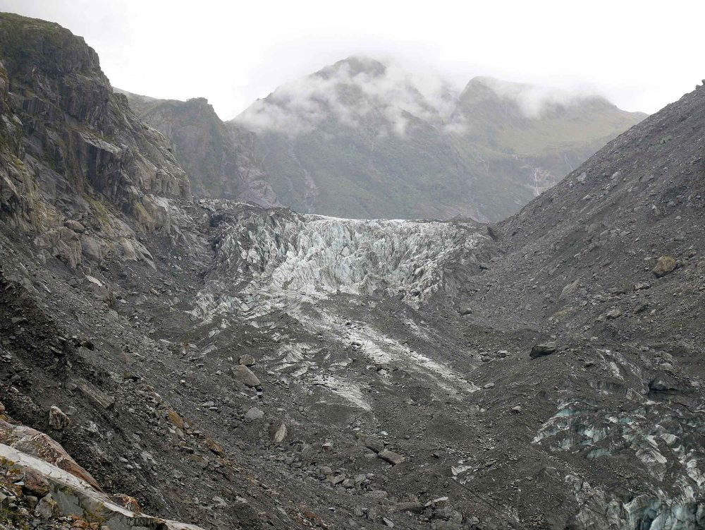 We trekked up to within 400 metres of Fox Glacier, one of the few in the world to end in rainforest (Jan 6).