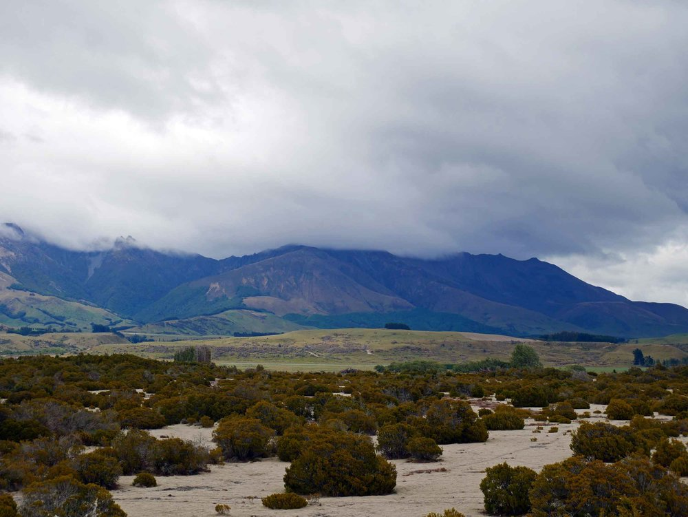 The scrubland of the Wilderness Scientific Reserve, just east of Te Anau on the way to Milford Sound, features landscape reminiscent of the last Ice Age (Jan 8).