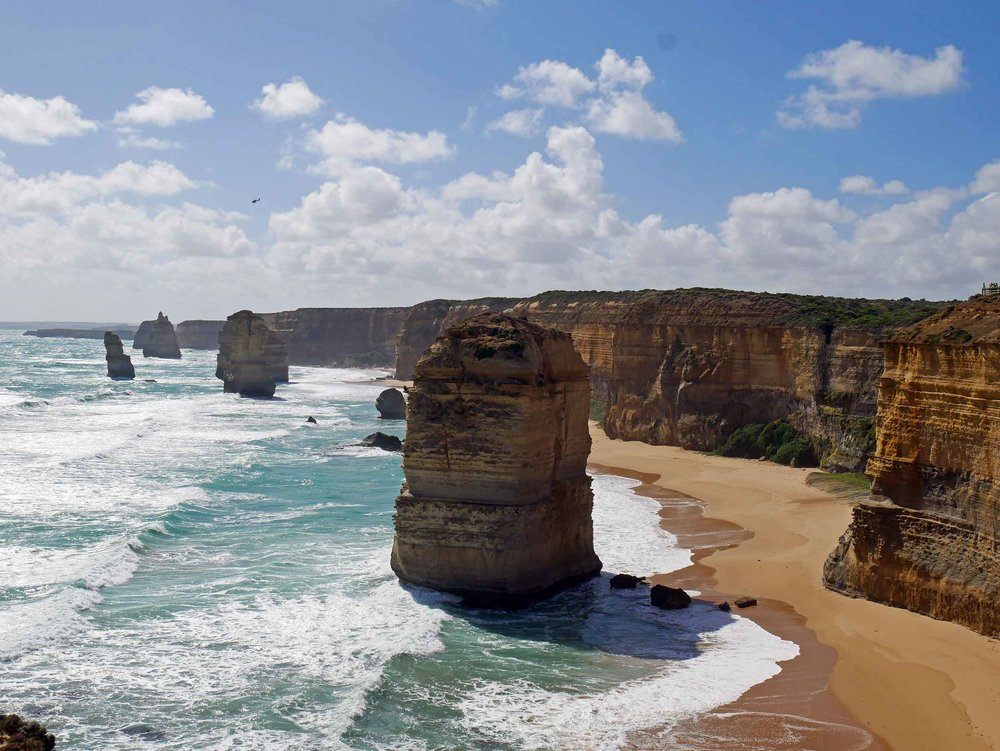 The 12 Apostles, which are giant limestone stacks near Port Campbell, are constantly changing both is shape and number (Jan 24).