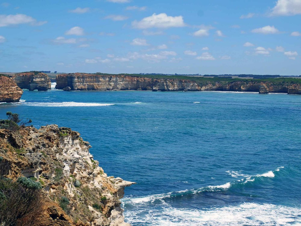 The rugged coastline along the Great Ocean Road, near Bay of Islands (Jan 25).