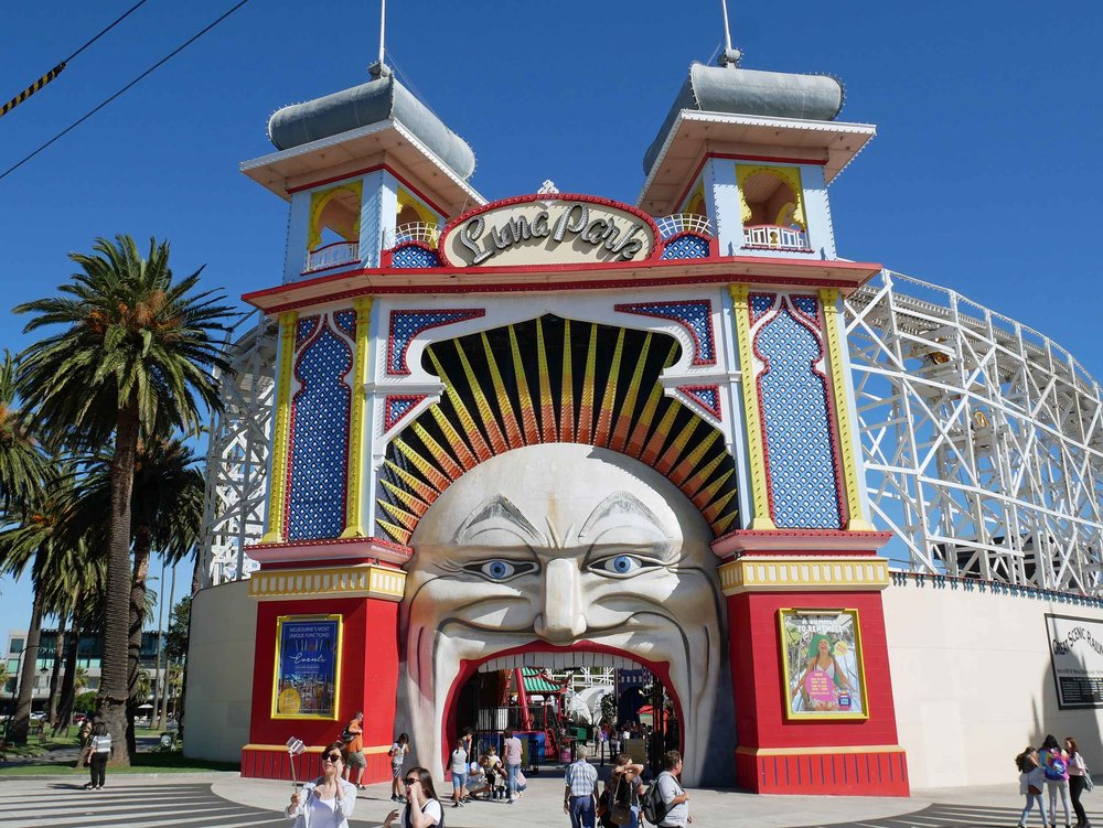 The iconic entrance to Luna Park on Port Phillip Bay in St. Kilda, Melbourne (Jan 25).