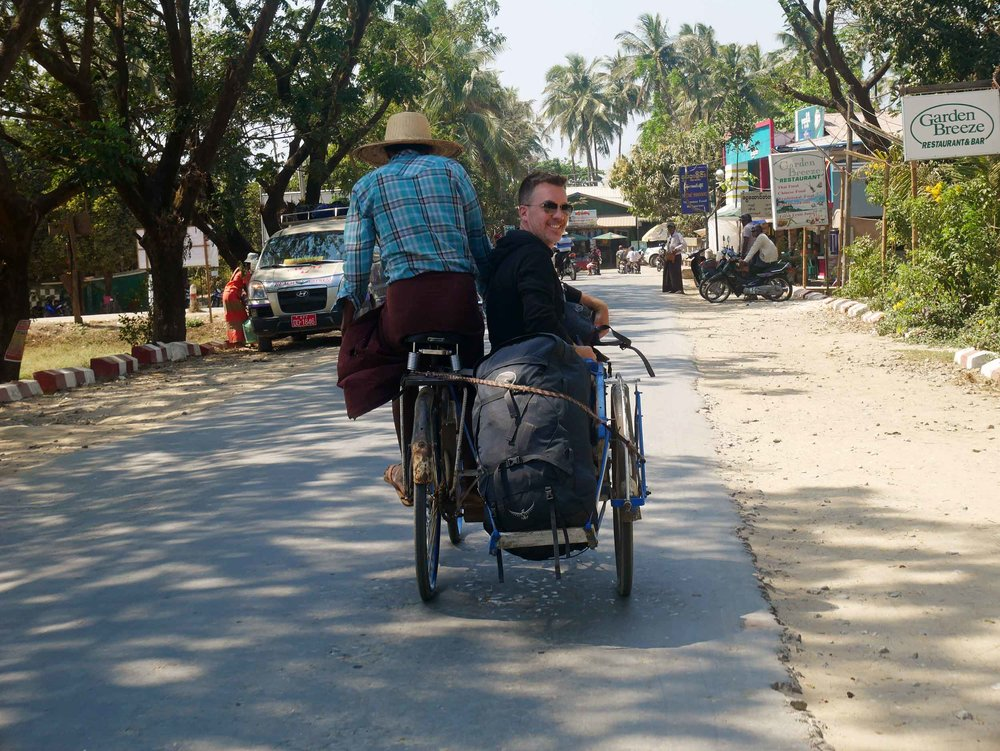 After the long bus ride, we were surrounded by men offering trishaw rides from the bus stop to our hotel - why not?