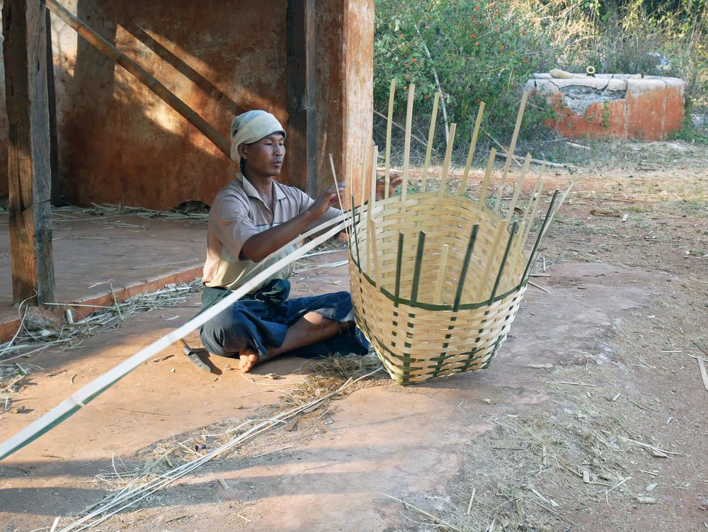 in Pattu Pauk village, the men stay home to weave large bamboo baskets sold at market for around 3,000 kyat or 2USD (Feb 20).