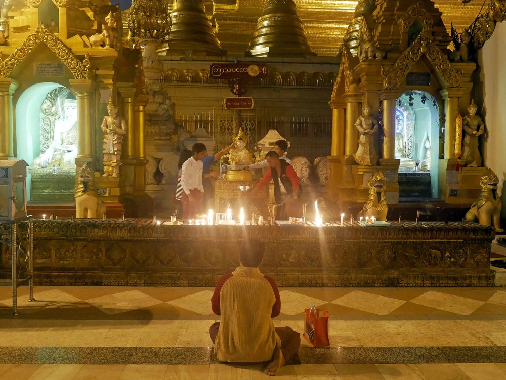 The Burmese people are devout Buddhists and spend the early morning in thoughtful contemplation and prayer (Feb 9).