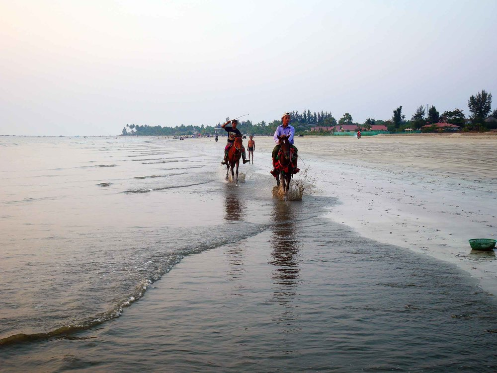 The broad beaches of Ngwesaung provided ample space for fast moving motos and galloping horses (Feb 12).