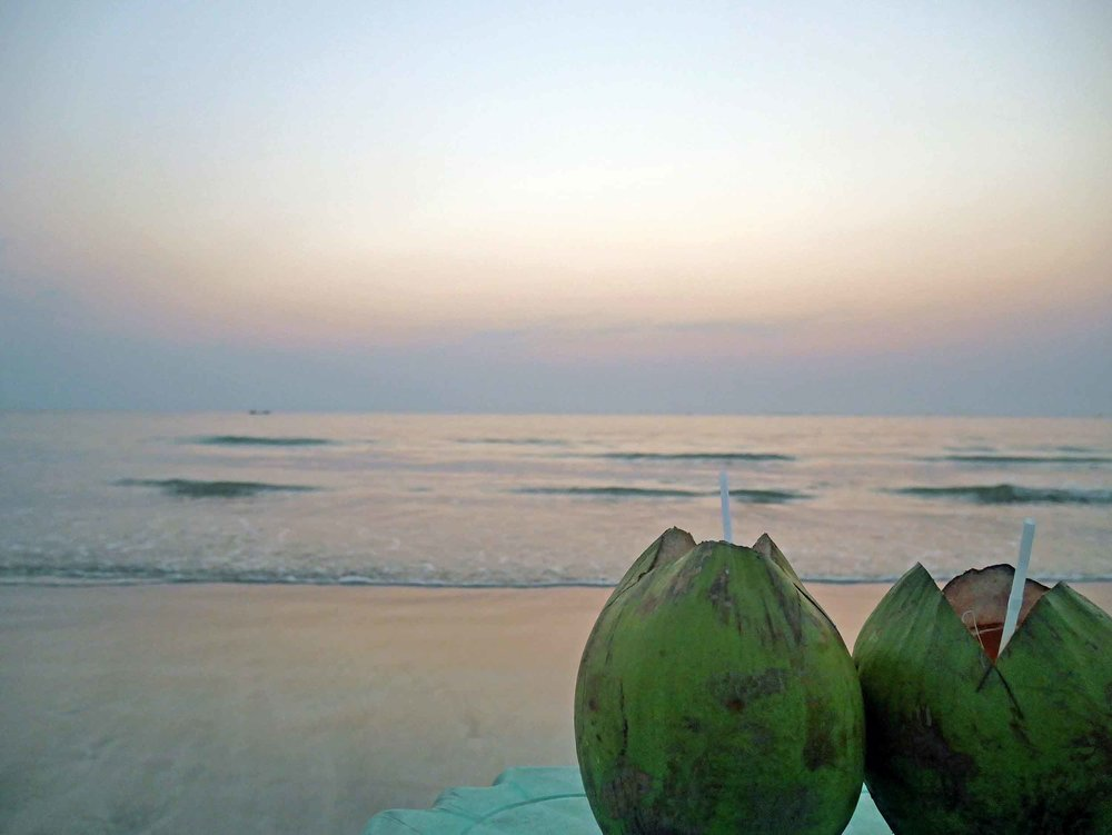 Along the beaches, you can find small pop-up restaurants that offer fresh coconuts and seats with a view (Feb 12).
