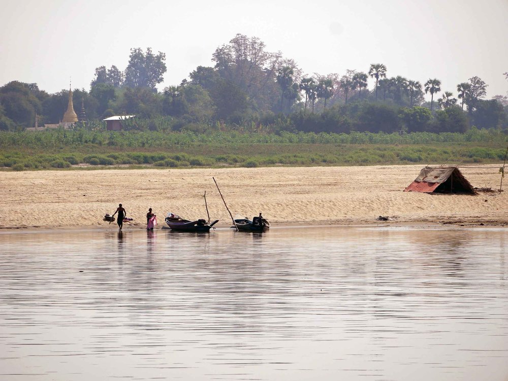 The Irrawaddy River offers many scenes of village life along the 12-hour journey (Feb 17).