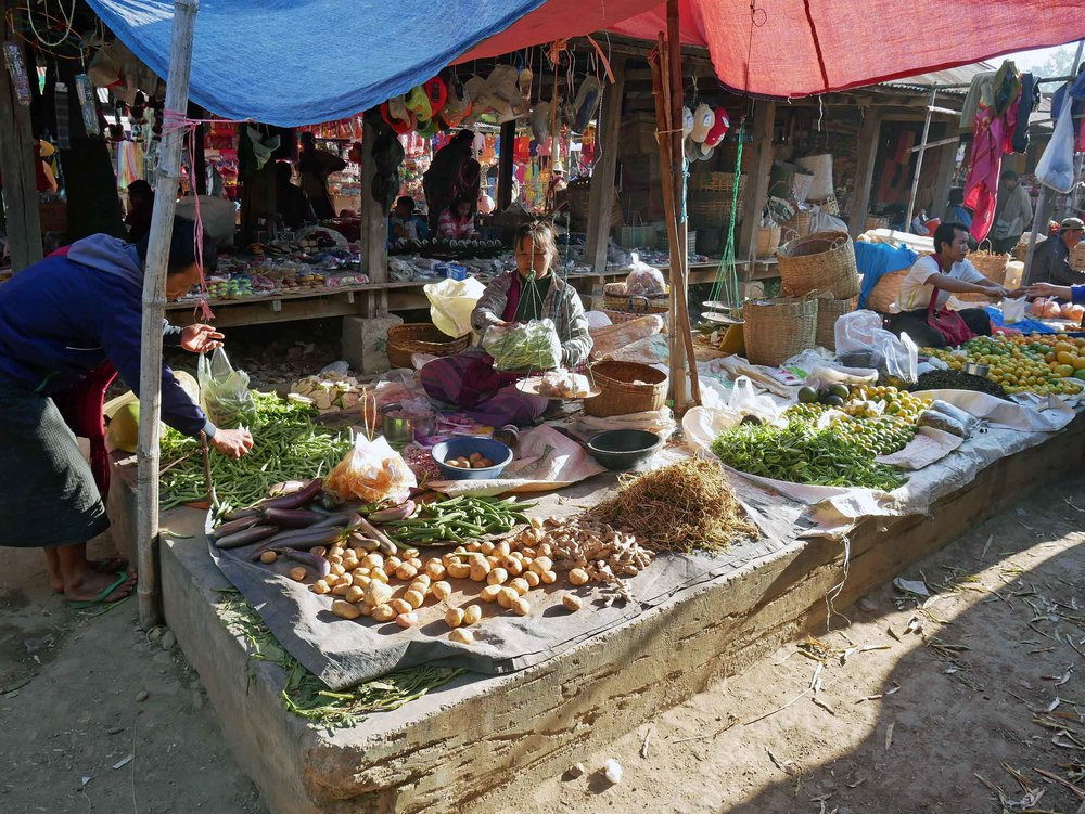 Local farmers bring many different fruits and vegetables to market along with meats and fish (Feb 22).