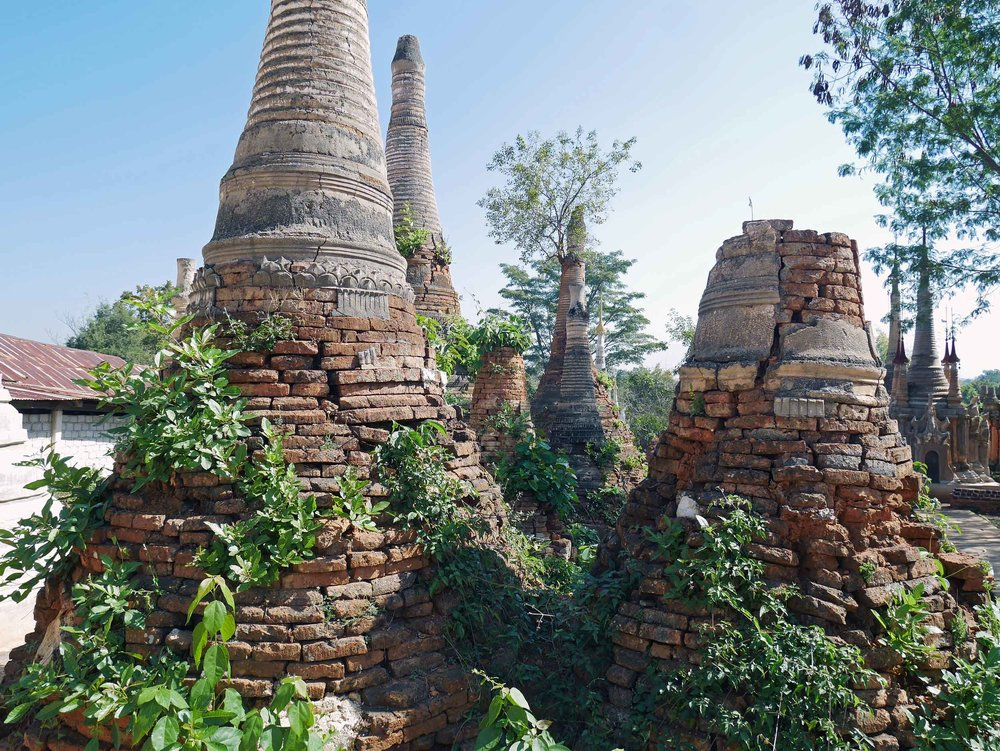 Some of the older crumbling stupas are being restored by locals (Feb 22).