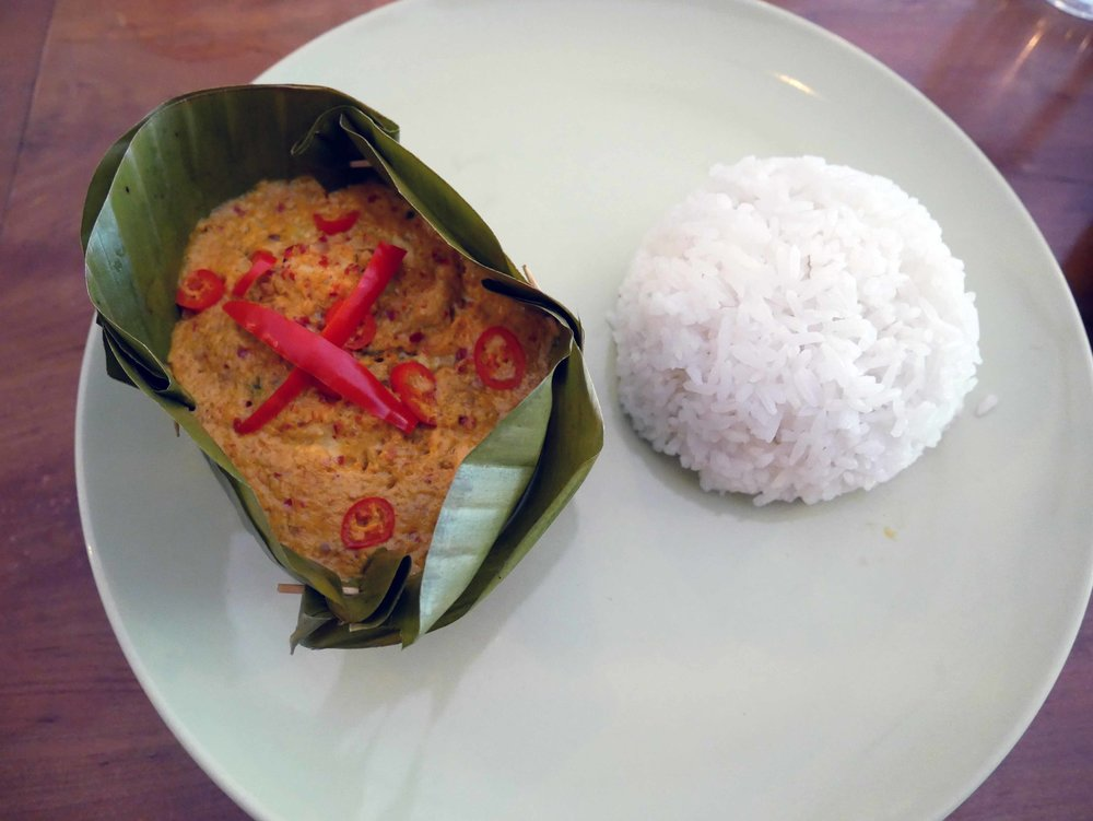 Time to eat! Traditional Amok served with rice and topped with red chili (March 10).