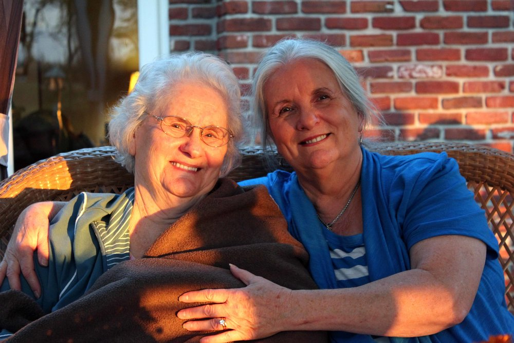 My mother, Alva (right), with my beloved grandmother on her 90th birthday.
