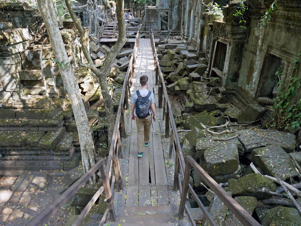 A bit off the tourist trail (although becoming increasingly popular) the Beng Mealea complex was largely left as it was found except for the recent addition of walkways (March 1).