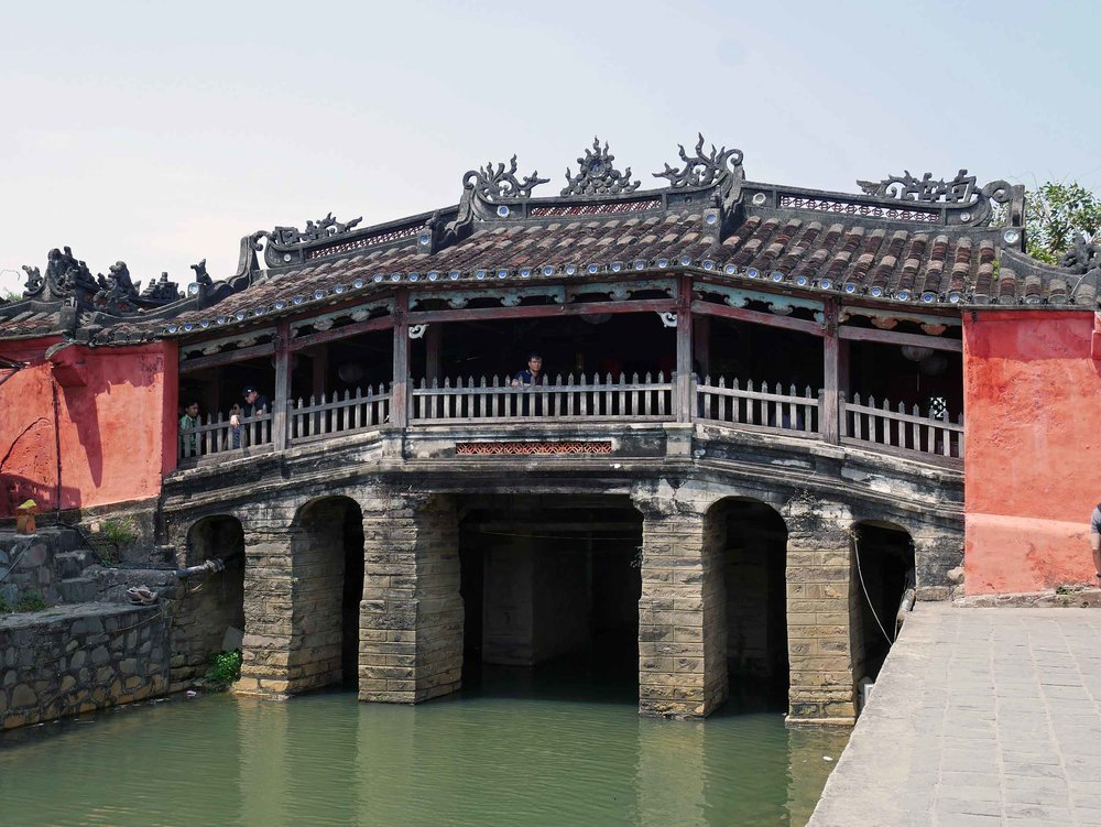 A signature sight in Hoi An, the elaborate Japanese covered bridge includes intricate, detailed carvings.