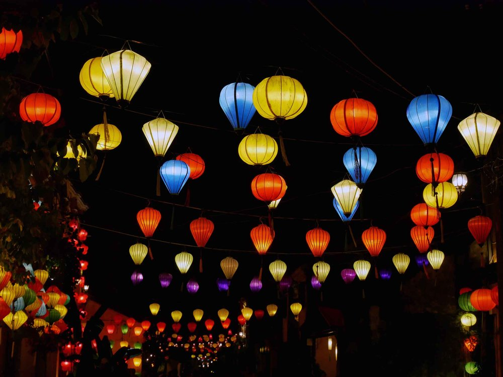 The many colored lanterns brings a bright and festive atmosphere to Hoi An's Ancient Town.