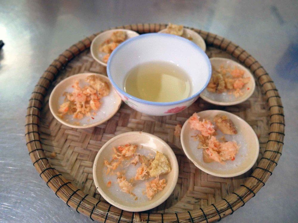 When we arrived in Hue, we once again searched for local treats, finding these  Banh Beo , small rice cakes with shrimp, at Hanh restaurant.