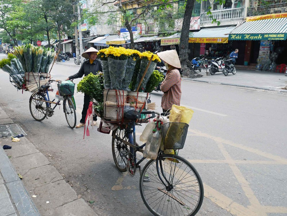 Or here, we saw ladies selling flowers from their bicycles.