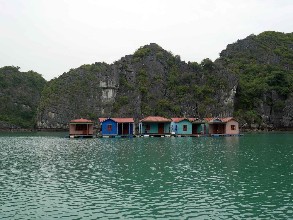 There is an eerie quality to the abandoned Cuan Van floating villages which we passed while rowing to visit the pearl farm in Halong Bay (Mar 27).