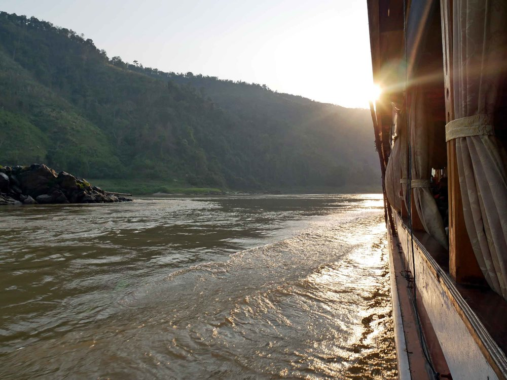 Our 2-day slow boat journey up the Mekong would take us north-west toward the Thai border (April 6).