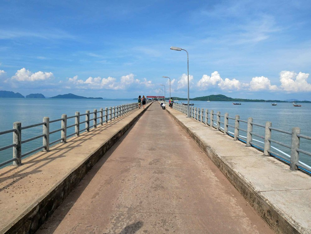 A walk down the pier on the east coast provides a panoramic view of the islands that dot the Andaman Sea.