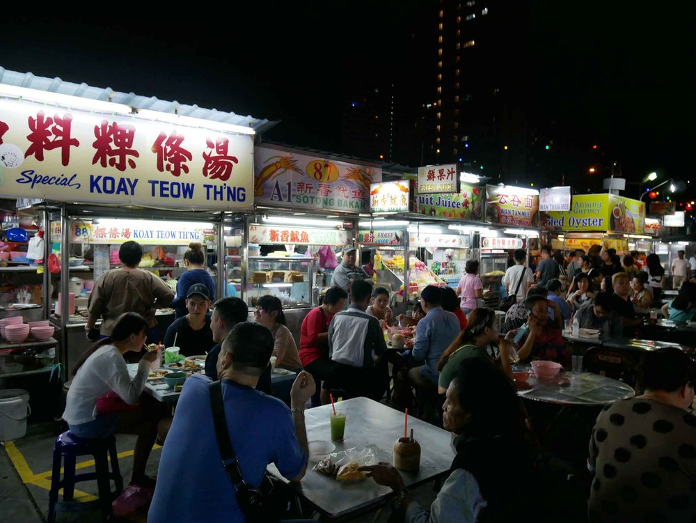 Another famous (and busy) local street food area is Gurney Drive Hawker Stalls, where we waited in a line for about 20 minutes for their  kway teow .