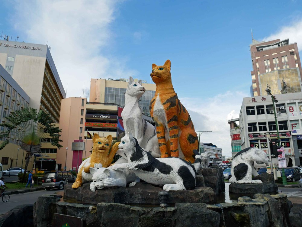 We arrived to the East Malaysian city of Kuching, which legend has it was named for all the cats around when the Brit and first white Rajah, James Brook, landed on Borneo in the early 1800s (May 1).