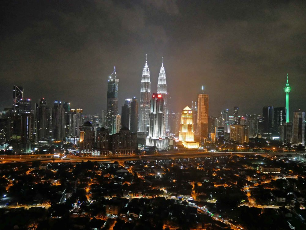 The magnificent, radiant view of Kuala Lumpur from our friend Chris's rooftop terrace.