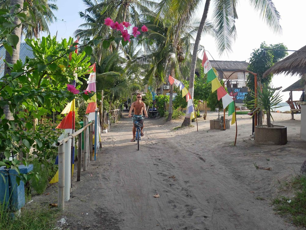 Bicycles are another option for getting around the island, which has a sandy path around the coastline.