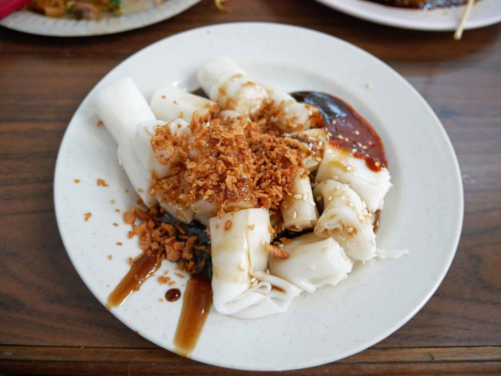 We tried the traditional Cantonese dish of  chee cheong fun , rice noodle rolls with shrimp.