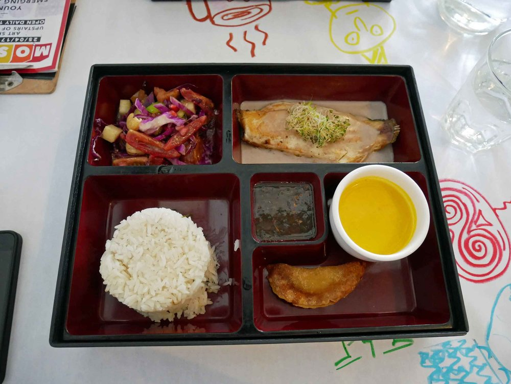 At China House, we enjoyed a bento box lunch that included carrot soup, grilled fish, rosemary rice, vegetable salad.