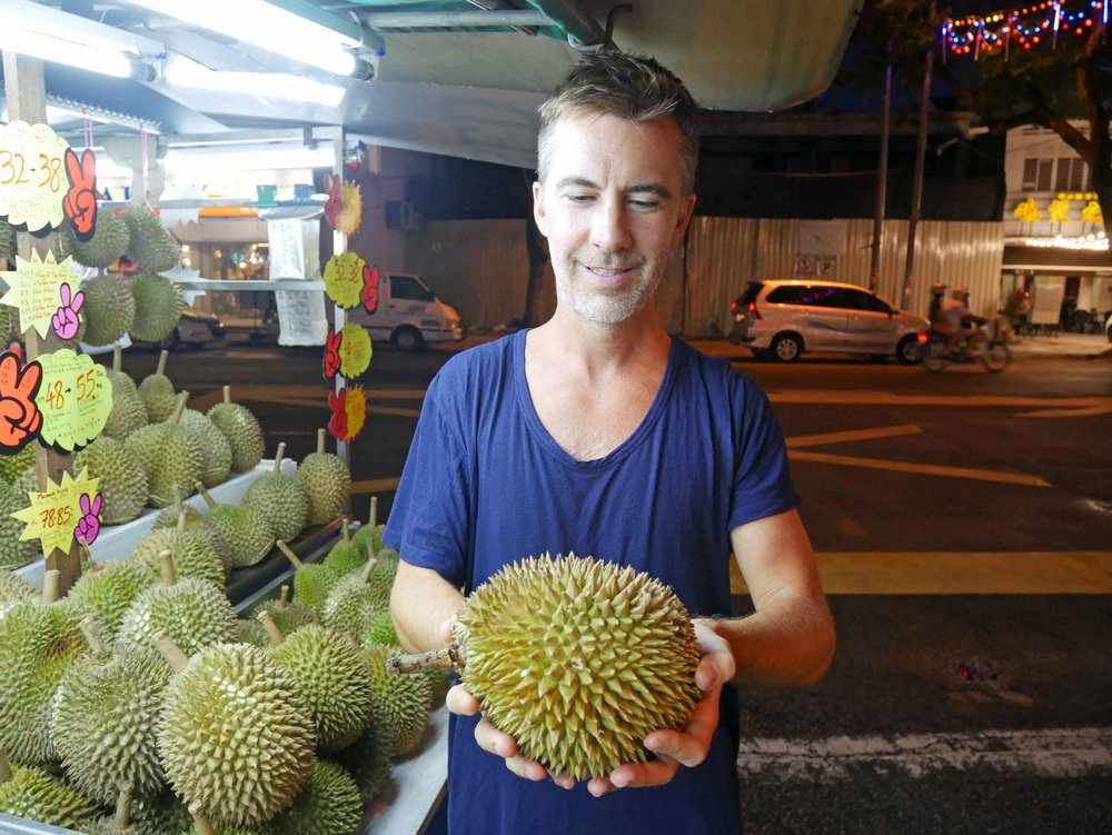 At last, we dared ourselves to try the controversial durian fruit at a stand near our hotel.