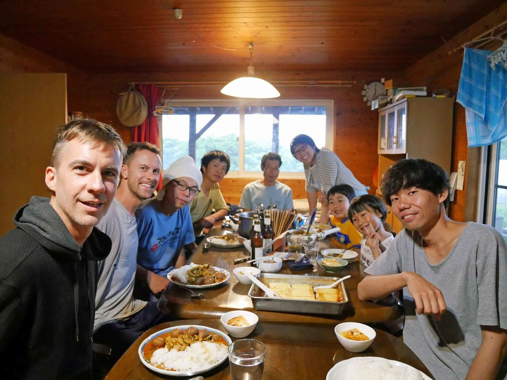 Our last dinner at Shiratori with the family and other farm helpers (June 28).