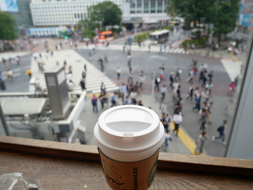 Fueling up while taking in Tokyo's hectic Shibuya Crossing (June 13).