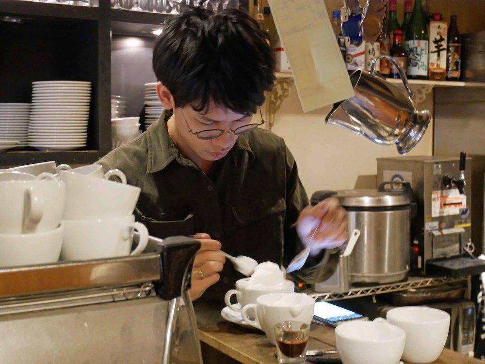 Coffee art comes to life at Reissue Cafe in Tokyo's famed Harajuku district.