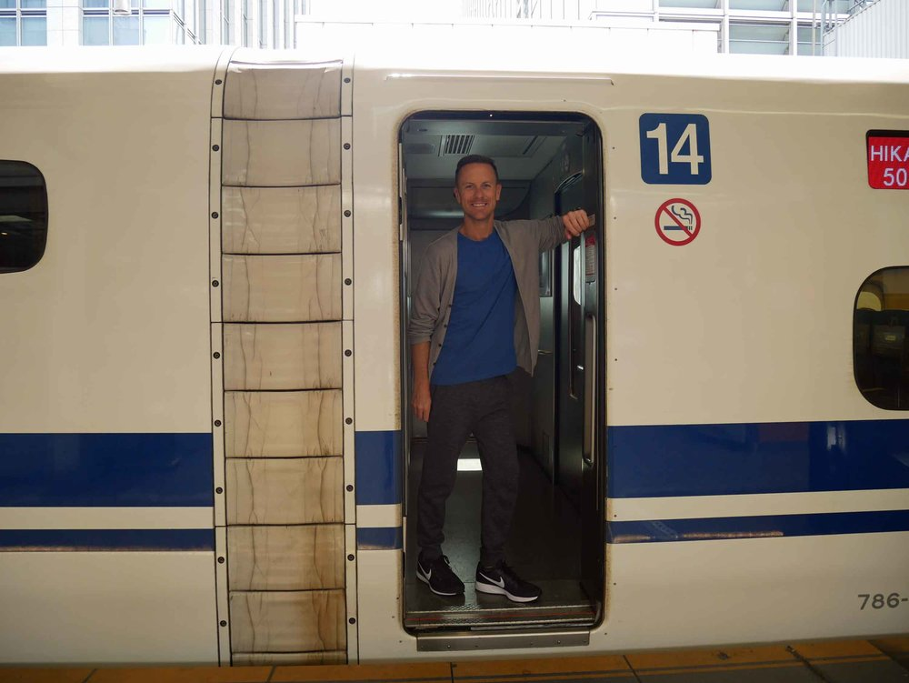 All aboard! Martin is ready for his first bullet train ride from Tokyo to Kyoto (June 15).
