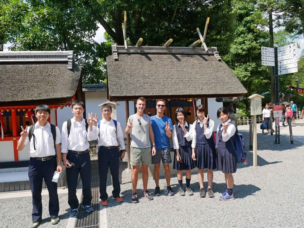Japanese school children stopped us to practice their English and we couldn't resist a photo!