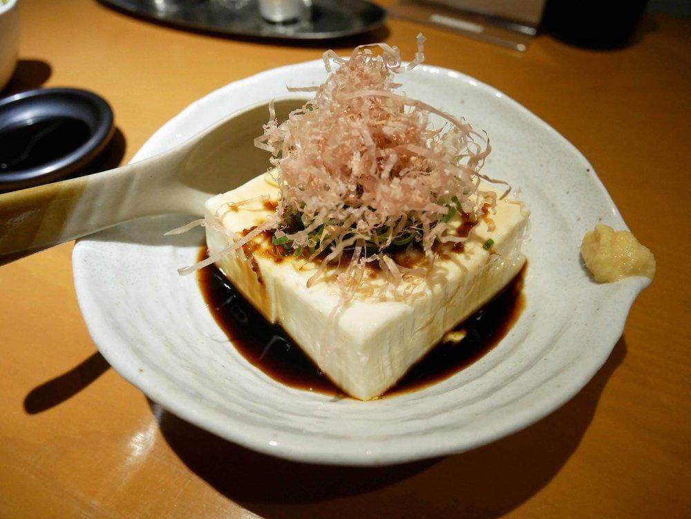 At a raucous Izakaya restaurant near the hotel we enjoyed a local speciality, marinated tofu.